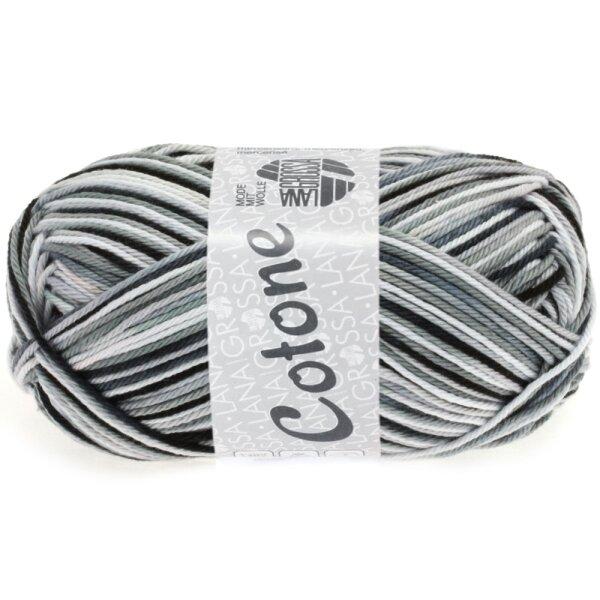 Lana Grossa - Cotone Print 0317 weiß/silbergrau/dunkelgrau/schwarz